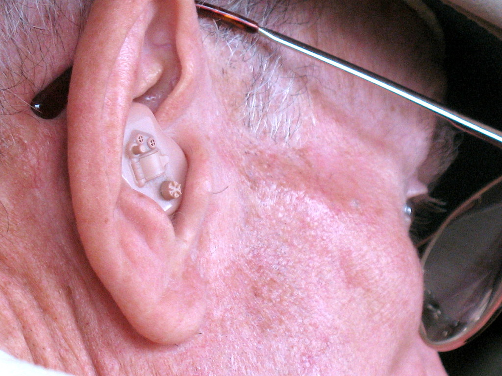 person with hearing aid