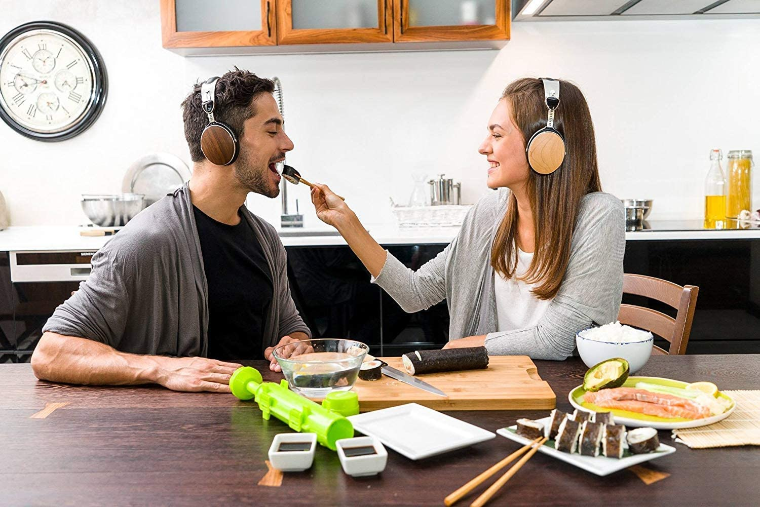 People eating and hearing Most Durable Headphones